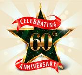 60 Year anniversary celebration golden star ribbon celebrating 60th anniversary