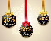 Set of 50 sale and discount golden labels with red bows and ribbons Style Sale Tags Design 50 off - vector eps10