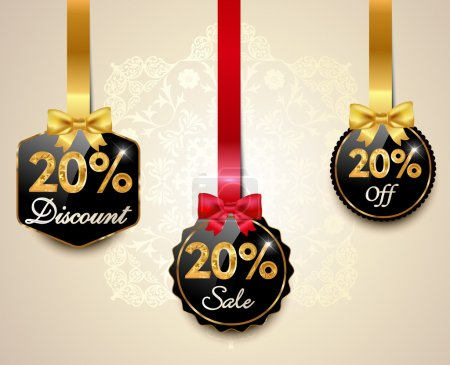 Set of 20 sale and discount golden labels with red bows and ribbons Style Sale Tags Design, 20 off - vector eps10