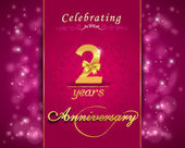 2 year anniversary celebration sparkling card 2nd anniversary vibrant background - vector eps10