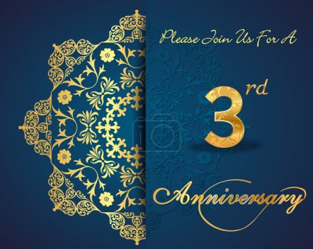 3 year anniversary celebration pattern design, 3rd anniversary decorative Floral elements, ornate background, invitation card - vector eps10