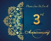 """Постер, картина, фотообои """"3-летний дизайн образца празднования годовщины, 3-я годовщина декоративные цветочные элементы, декоративный фон, пригласительный билет - вектор eps10"""""""