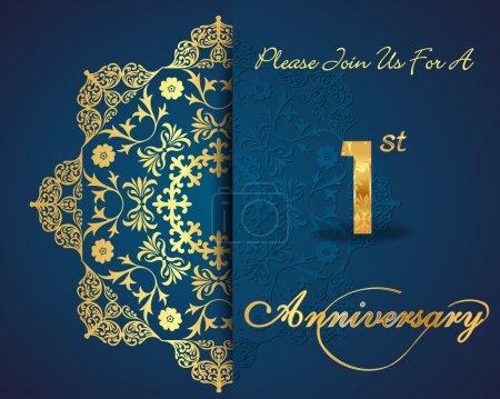 1 year anniversary celebration pattern design, 1st anniversary decorative Floral elements, ornate background, invitation card - vector eps10