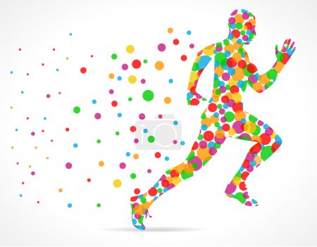 Running man with color circles, sports man running