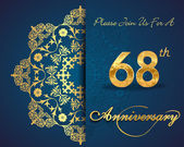 68 year anniversary celebration pattern design 68th anniversary decorative floral elements ornate background invitation card vector eps10