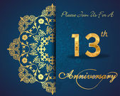 13 year anniversary celebration pattern design 13th anniversary decorative floral elements ornate background invitation card vector eps10
