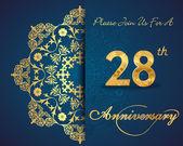 28 year anniversary celebration pattern design 28th anniversary decorative floral elements ornate background invitation card vector eps10