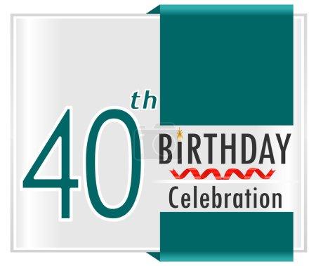 Illustration pour Carte de joyeux anniversaire de 40 ans avec des rubans, 40ème anniversaire, illustration vectorielle Eps10 - image libre de droit