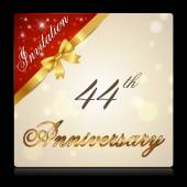 44 year anniversary celebration golden ribbon 44th anniversary decorative golden invitation card vector eps10