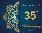 35 year anniversary celebration pattern design 35th anniversary decorative floral elements ornate background invitation card vector eps10