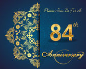 84 year anniversary celebration pattern design 84th anniversary decorative floral elements ornate background invitation card vector eps10