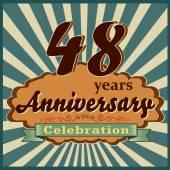 48 years celebration 48th happy anniversary retro style card vector eps10