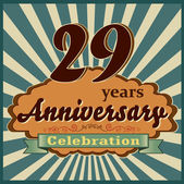 29 years celebration 29th happy anniversary retro style card vector eps10