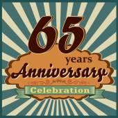 65 years celebration 65th happy anniversary retro style card vector eps10