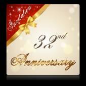 32 year anniversary celebration golden ribbon 32th anniversary decorative golden invitation card vector eps10