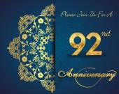 92 year anniversary celebration pattern design 92th anniversary decorative floral elements ornate background invitation card vector eps10