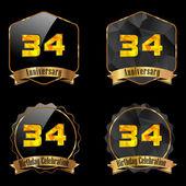 34 year birthday celebration golden label 34th anniversary decorative polygon golden emblem vector illustration eps10