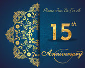 15 year anniversary celebration pattern design 15th anniversary decorative floral elements ornate background invitation card vector eps10
