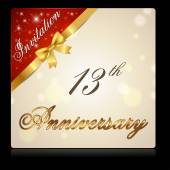 13 year anniversary celebration golden ribbon 13th anniversary decorative golden invitation card vector eps10