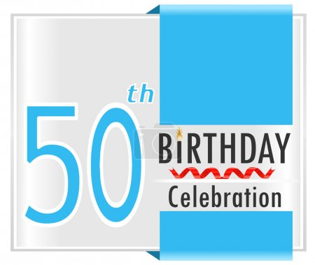 Illustration for 50 year Happy Birthday Card with ribbons, 50th birthday, vector illustration EPS10 - Royalty Free Image