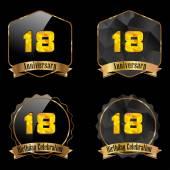 18 year birthday celebration golden label 18th anniversary decorative polygon golden emblem vector illustration eps10