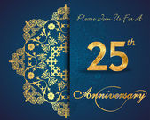 25 year anniversary celebration pattern design 25th anniversary decorative floral elements ornate background invitation card vector eps10