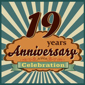 19 years celebration 19th happy anniversary retro style card vector eps10