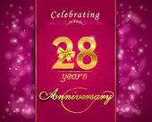 28 year anniversary celebration sparkling card