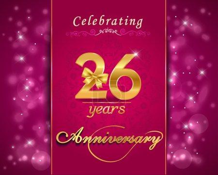 26 year anniversary celebration sparkling card