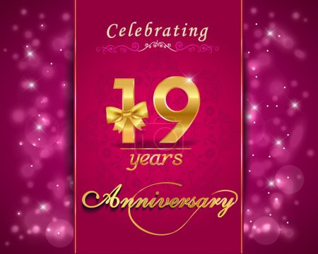 19 year anniversary celebration sparkling card