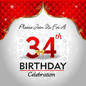 Celebrating 34 years birthday Golden red royal background
