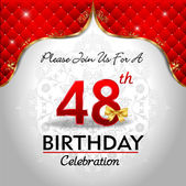 Celebrating 48 years birthday Golden red royal background