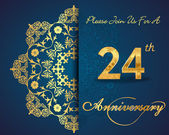 24 year anniversary celebration pattern design 24th anniversary decorative Floral elements ornate background invitation card