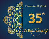 35 year anniversary celebration pattern design 35th anniversary decorative Floral elements ornate background invitation card