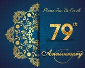 79 year anniversary celebration pattern design 79th anniversary decorative Floral elements ornate background invitation card
