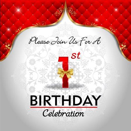 Illustration pour Célébration 1 anniversaire, fond royal rouge doré - image libre de droit