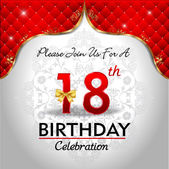 Celebrating 18 years birthday Golden red royal background vector eps10