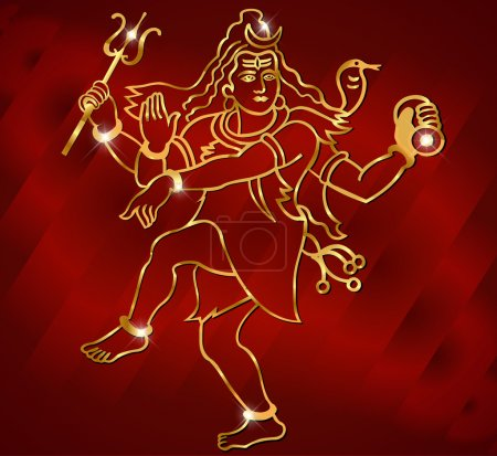 Hindu deity lord Shiva on a sparkling red background vector eps-10