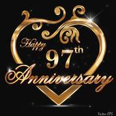 97 year anniversary golden heart 97th anniversary decorative golden heart design - vector eps10
