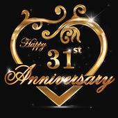 31 year anniversary golden heart 31st anniversary decorative golden heart design - vector eps10