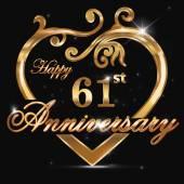 61 year anniversary golden heart 61st anniversary decorative golden heart design - vector eps10
