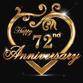72 year anniversary golden heart 72nd anniversary decorative golden heart design - vector eps10