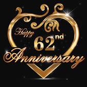 62 year anniversary golden heart 62nd anniversary decorative golden heart design - vector eps10