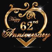 62 year anniversary golden heart