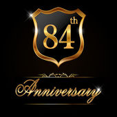 84 year anniversary golden label 84th anniversary decorative golden emblem - vector illustration