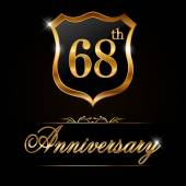 68 year anniversary golden label 68th anniversary decorative golden emblem - vector illustration