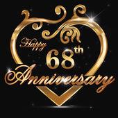 68 year anniversary golden heart 68th anniversary decorative golden heart design - vector eps10