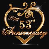 53 year anniversary golden heart 53rd anniversary decorative golden heart design - vector eps10