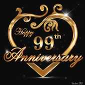99 year anniversary golden heart 99th anniversary decorative golden heart design - vector eps10