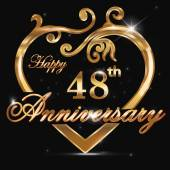 48 year anniversary golden heart 48th anniversary decorative golden heart design - vector eps10